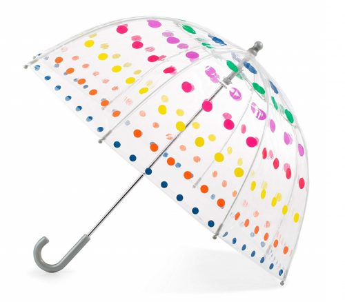 2. Totes Kid's Clear Bubble Umbrella with Easy Grip Handle, Dots