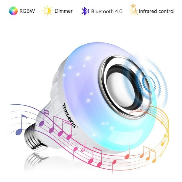3. Texsens LED Light Bulb Bluetooth Speaker, 6W E26 RGB Changing Lamp Wireless Stereo Audio with 24 Keys Remote Control