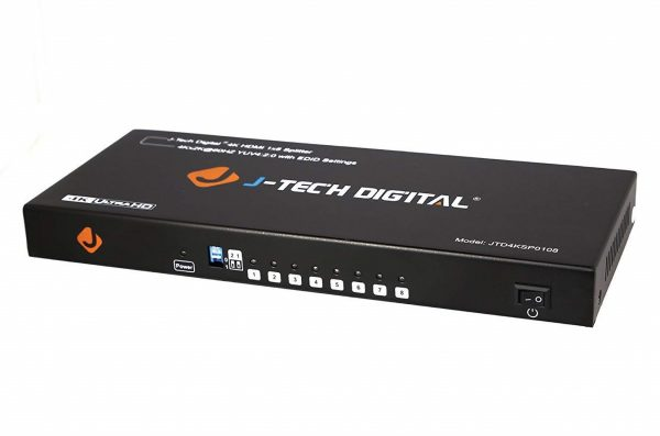 4. J-Tech Digital JTD4KSP0108 Premium Quality Ultra HD 4K 60HZ 1x8 HDMI Splitter High Resolutions