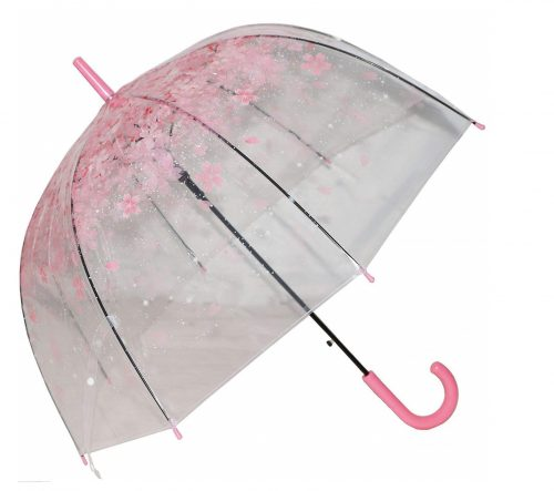 4. Kung Fu Smith Women Half Automatic Clear Flower Bubble Dome Shape Wind Stick Rain Umbrella, Pink