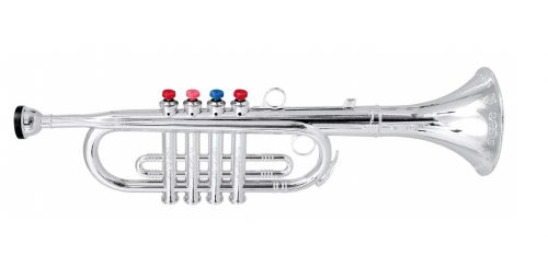 6. Click n' Play Metallic Silver Kids Trumpet Horn Wind Instrument with 4 Colored Keys
