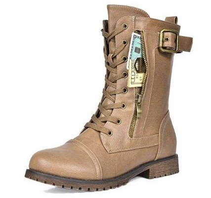 6. DREAM PAIRS Women's Winter Lace up Mid Calf Combat Boots