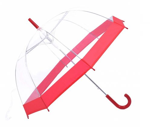 6. Rainbrace Red Clear Bubble Umbrella