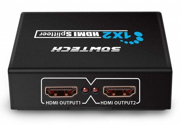 6. SOWTECH 1X2 HDMI Splitter Version 1.4 Full HD 1080P Powered HDMI Splitter 1 in 2 Out Support 3D for Duplicated