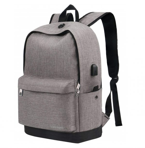 6. Vancropak Student Backpack, Canvas School Backpack with USB Charging Port