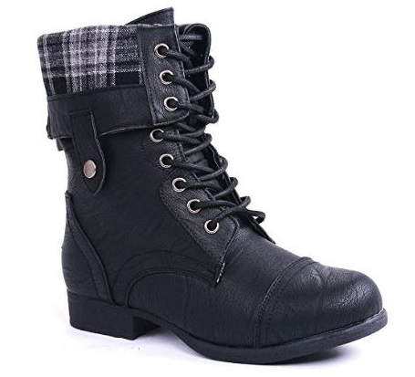 8. JJF Shoes Women Military Combat Foldable Cuff Faux Leather