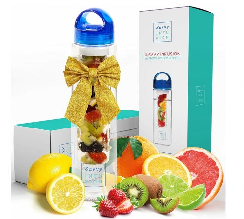 1. Savvy Infusion Water Bottles - 24 or 32 Ounce Fruit Infuser Bottle