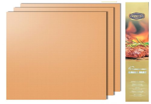 1.Aoocan Copper Grill Mat Set of 3 - Grill Mats Non Stick ,BBQ Grill & Baking Mats - FDA-Approved,Reusable and Easy to Clean - Works on Gas, Charcoal,...
