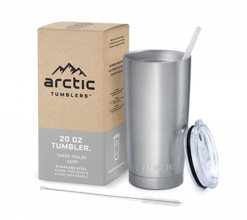 10. Arctic Tumblers Stainless Steel Camping & Travel Tumbler with Splash Proof Lid and Straw, Double Wall Vacuum Insulated, Premium Insulated Thermos