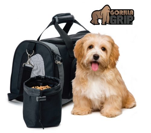 10. Gorilla Grip Original Pet Travel Carrier Bag for Dogs or Cats, Free Bowl, Durable, Locking Safety Zippers