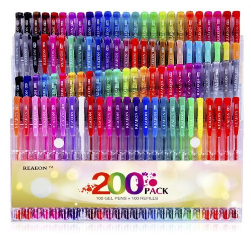10. Reaeon Gel Pens for Adult Coloring Book 200 Colors Gel Pen Colored Markers Set for Drawing Painting Writing Art & School Supplies