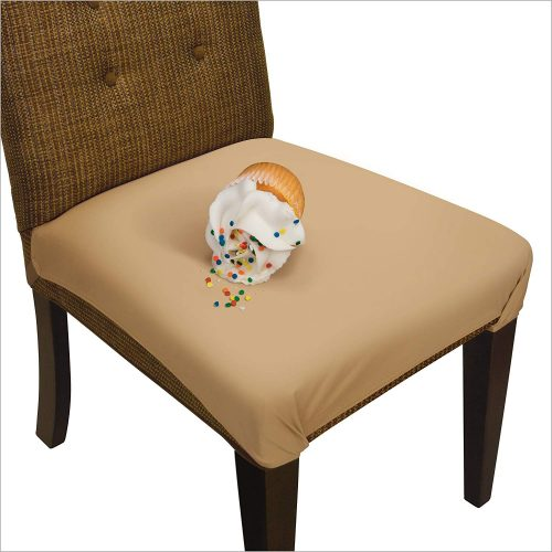 10. SmartSeat Dining Chair Cover and Protector - Pack of 2 - Sandstone Tan - Removable, Waterproof