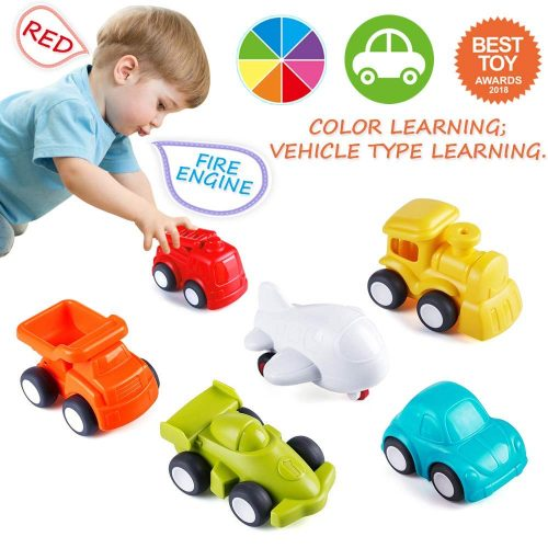 10. VATOS Toddler Car Toys, 6 Pack Toy Cars Free Wheel, City Traffic Little Cars 1 Year Old