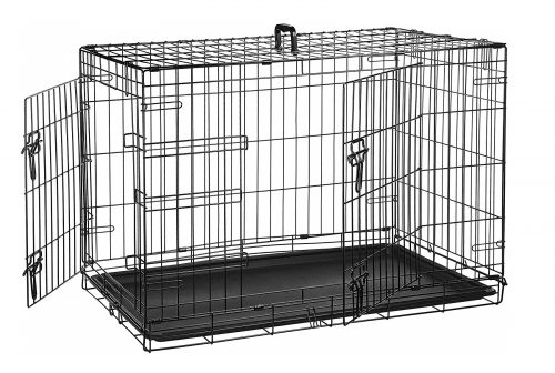 2. AmazonBasics Single Door & Double Door Folding Metal Dog Crate