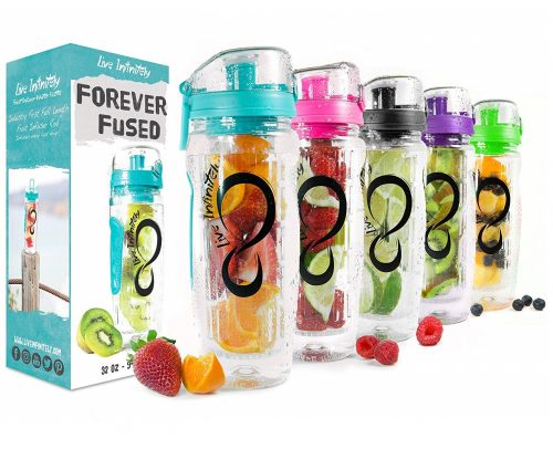 3. Live Infinitely 32 oz. Infuser Water Bottles - Featuring a Full Length Infusion Rod, Flip Top Lid, Dual Hand Grips & Recipe Ebook Gift