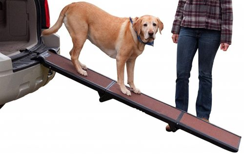 3. Pet Gear Tri-Fold Ramp, Supports up to 200lbs, 71 in. Long, Patented Compact Easy-Fold Design, Two Models to Choose from, Safety Tether Included