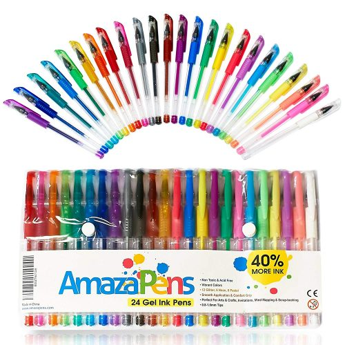 4. Gel Pens by AmazaPens - 24 Colored Pens - 40% More Ink - Glitter, Neon & Pastel. Superior Quality Coloring Pen