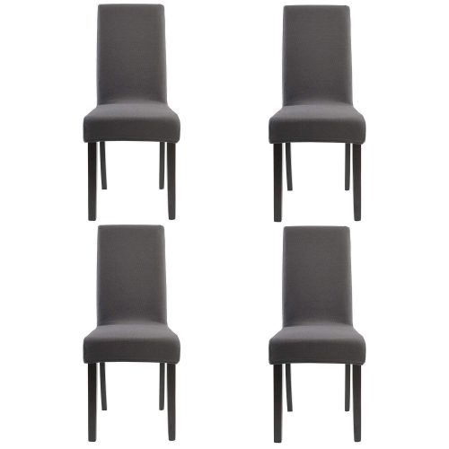4. Homluxe Knit Spandex Stretch Dining Room Chair Slipcovers (4, Gray Knit)