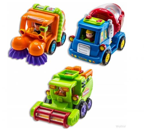 4. WolVol (Set of 3) Push and Go Friction Powered Car Toys for Boys - Street Sweeper Truck, Cement Mixer Truck, Harvester Toy Truck (Cars Have Auto
