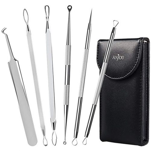 5. Anjou Blackhead Remover Curved Blackhead Tweezers Kit, 6-in-1 Professional Stainless Pimple Comedone Extractor Tools Set