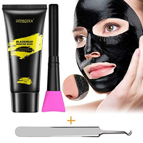 5. Blackhead Remover, Charcoal Peel Off Mask, Black Mask Purifying Peel Off Mask with Facial Brush and Blackhead Tweezer, Deep Pore Cleansing + Acn