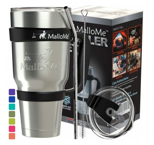 5. MalloMe Stainless Steel Tumbler 30 oz Insulated Coffee Cup Travel Mug with 2 Lids, Handle, Straw, Brush, 6 Piece Gift Set