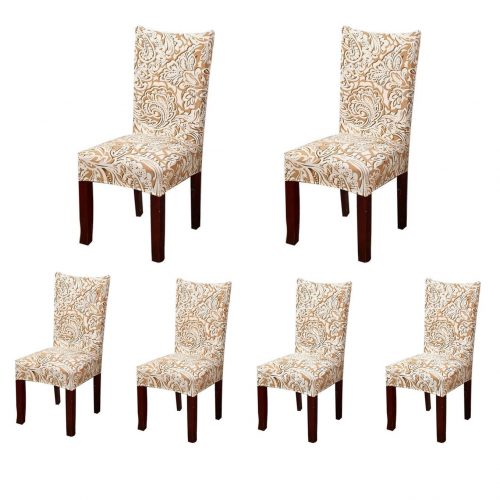 5. SoulFeel 6 x Soft Spandex Fit Stretch Short Dining Room Chair Covers with Printed Pattern