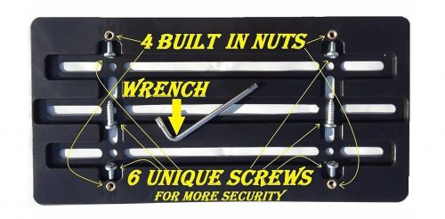 5. Trunknets Inc Universal Front Bumper License Plate Bracket + 6 Unique Screws and Wrench Kit