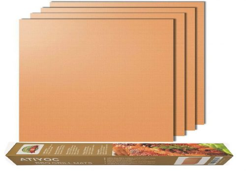 5.Atiyoc Copper Grill Mat, Set of 4 Non-stick and Heat Resistant Baking Mats for Charcoal, Electric and Gas Grill