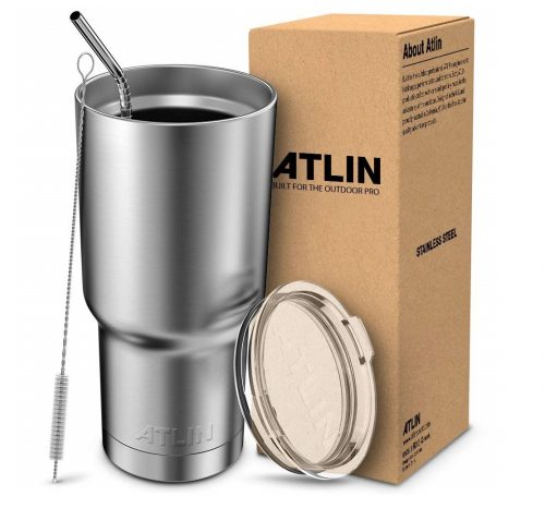 6. Atlin Tumbler [30 oz. Double Wall Stainless Steel Vacuum Insulation] Travel Mug [Crystal Clear Lid] Water Coffee Cup