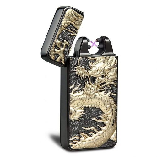6. Kivors USB Rechargeable Windproof Flameless Electronic Plasma Pulse Double Arc Lighter Chinese Dragon Loong Lighter