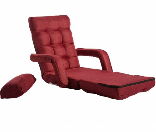 6. Merax Folding Lazy Floor Chair Sofa Lounger Bed with Armrests and a Pillow, Red