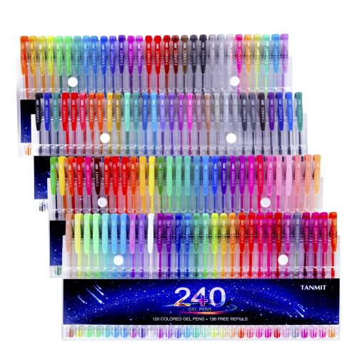 6. Tanmit 240 Gel Pens Set 120 Colored Gel Pen plus 120 Refills for Adults Coloring Books Drawing Art Markers (No Duplicates)