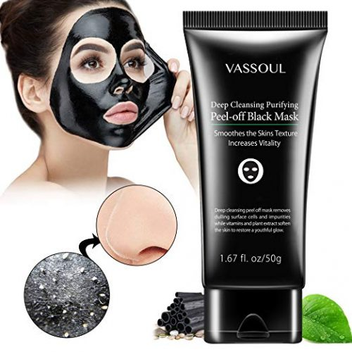 6. Vassoul Blackhead Remover Mask, Peel Off Blackhead Mask, Blackhead Remover - Deep Cleansing Black Mask, Bamboo Activated Charcoal Peel-Off Mask
