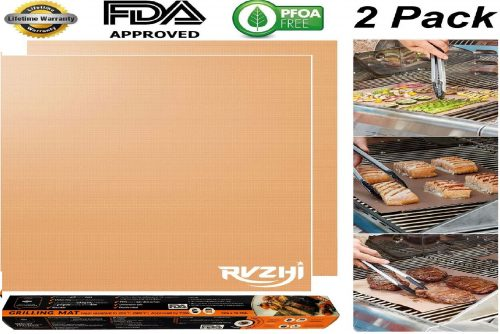 6.RVZHI Copper Grill Mat Set of 2-100% Non-Stick BBQ Grill & Baking Mats - FDA Approved, PFOA Free, Easy to Clean and Reusable - As Seen on TV - 15.75 x 13 Inch
