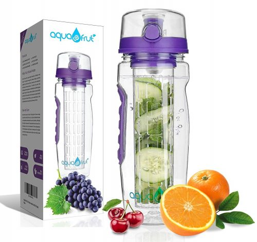 7. AquaFrut 32 OZ Fruit Infuser Water Bottle (Multiple Colors) BPA-Free Fruit Infusion Sports Bottle
