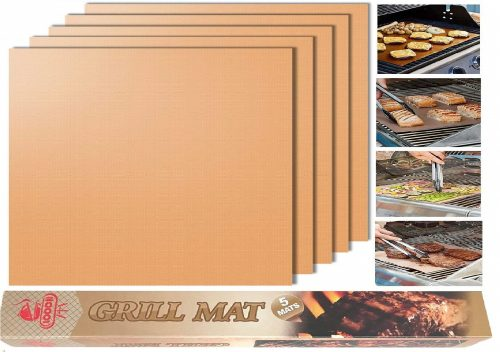 7.Looch Copper Grill Mat Set of 5- 100% Non-stick BBQ Grill & Baking Mats - FDA-Approved, PFOA Free, Reusable and Easy to Clean - Works on Gas, Charcoal,...