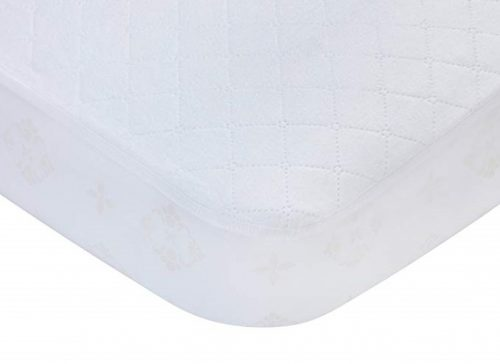 8. Carters Waterproof Fitted Quilted Crib and Toddler Protective Mattress Pad Cover, White