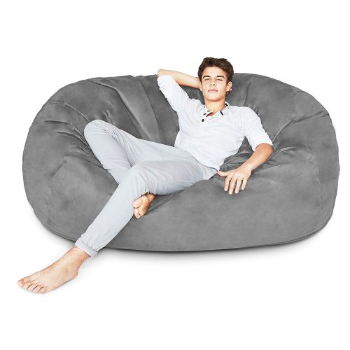 8. Lumaland Luxury 6-Foot Bean Bag Chair with Microsuede Cover Dark Grey, Machine Washable Big Size Sofa and Giant Lounger Furniture for Kids, Teens and Adults