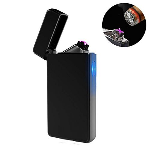 9. Dual Arc Plasma Lighter USB Rechargeable Windproof Flameless Butane Free Electric Lighter for Cigar,Candle (Black)