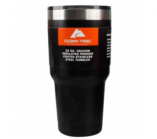 9. Ozark Trail 30oz. Vacuum Insulated Powder Coated Stainless Steel Tumbler Black