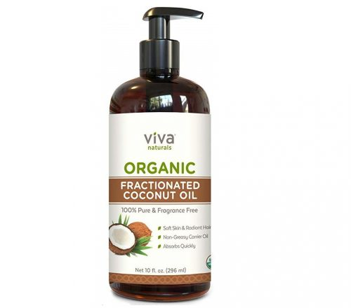 9. Viva Naturals Organic Fractionated Coconut Oil - 100% Pure USDA Certified Massage Oil, Perfect Carrier for Essential Oils (10 oz)