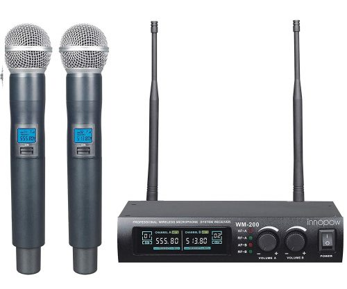 10. Innopow Metal Dual UHF Wireless Microphone System