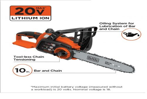 2. BLACK+DECKER LCS1020 20V Max Lithium Ion Chainsaw, 10-Inch