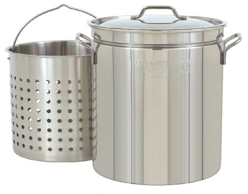 3. Bayou Classic 1160 62-Quart All Purpose Stainless Steel Stockpot with Steam and Boil Basket