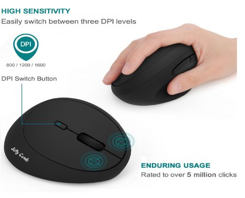 Wireless Vertical Mouse, Jelly Comb Wireless Mouse 2.4G High Precision Ergonomic Optical Mice 【 for Small Hands 】 (Black)