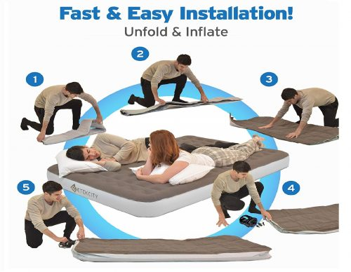 6. Etekcity Twin Queen Size Air Mattress Blow Up Bed Inflatable Mattress Raised Airbed