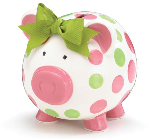 1. Burton & Burton Girls Pink & Green Circles Pig Piggy Bank Green Bow Ceramic Personalized Baby Nursery Decor