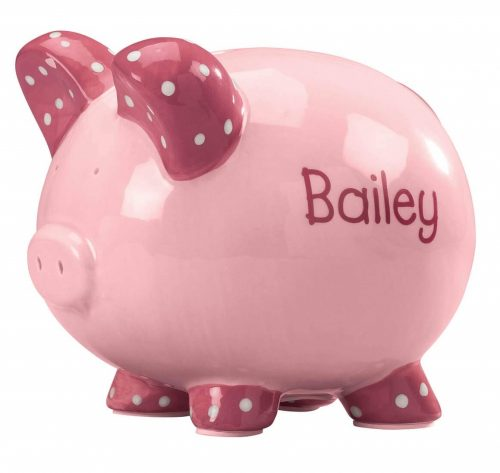 10. Personalized Kid's Font Piggy Bank - Pink