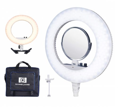 10.NanGuang-V48C-18-Dimmable-Adjustable-Bicolor-LED-Ring-Light-Desktop-Kit